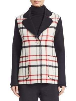 Piazza Sempione Doubleface Wool Plaid-Front Jacket
