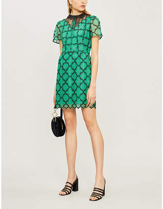 Sandro Ritta contrast-panel floral-lace dress