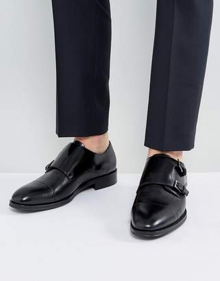 Aldo Mantesana Leather Monk Shoes In Black