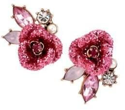 Betsey Johnson Glitter Rose Mismatch Stud Earrings