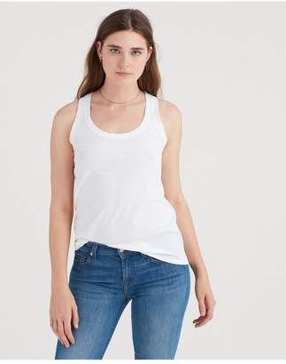 7 For All Mankind Slub Racer Tank In White