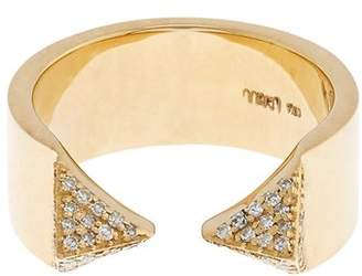 Ileana Makri White-diamond & yellow-gold pyramid ring