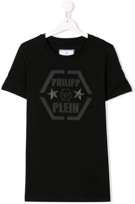 Philipp Plein Junior TEEN logo embroidered T-shirt