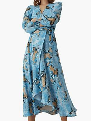 96bfd9a053 Karen Millen Snake Print Wrap Dress, Blue/Multi