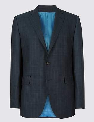 Marks and Spencer Indigo Striped Tailored Fit Wool Jacket