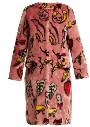Shrimps - Aidan Print Faux Fur Coat - Womens - Pink Multi