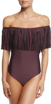 Luxe by Lisa Vogel Fringe Benefits Off-the-Shoulder One-Piece Swimsuit $148 thestylecure.com