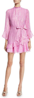 Saloni Marissa Metallic Ruffle High-Neck Mini Dress