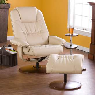 Southern Enterprises Leland Taupe Leather Recliner & Ottoman