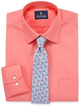 STAFFORD Stafford Travel Easy-Care Shirt + Tie Set- Big And Tall