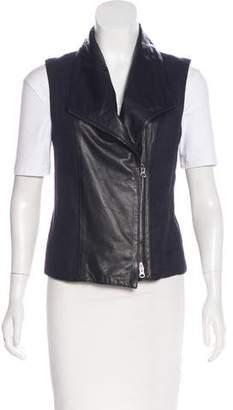 Vince Leather-Trimmed Linen-Blend Vest