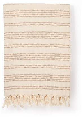 Luks Linen Hilmi Cream & Tan Artisan Cotton Throw
