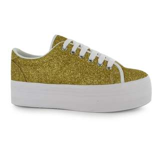 Jeffrey Campbell Play zOMG Glitter Platform Shoes Womens Trainers Sneakers (UK6)