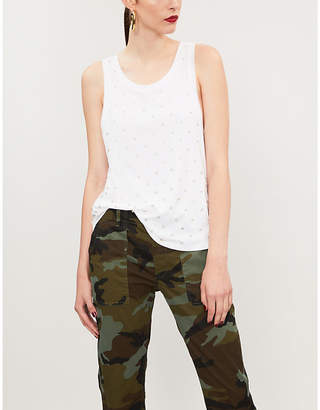 The Kooples Crystal-embellished cotton-jersey tank top