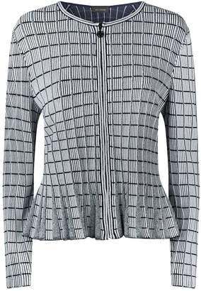 St. John Knitted Stripe Zipped Cardigan
