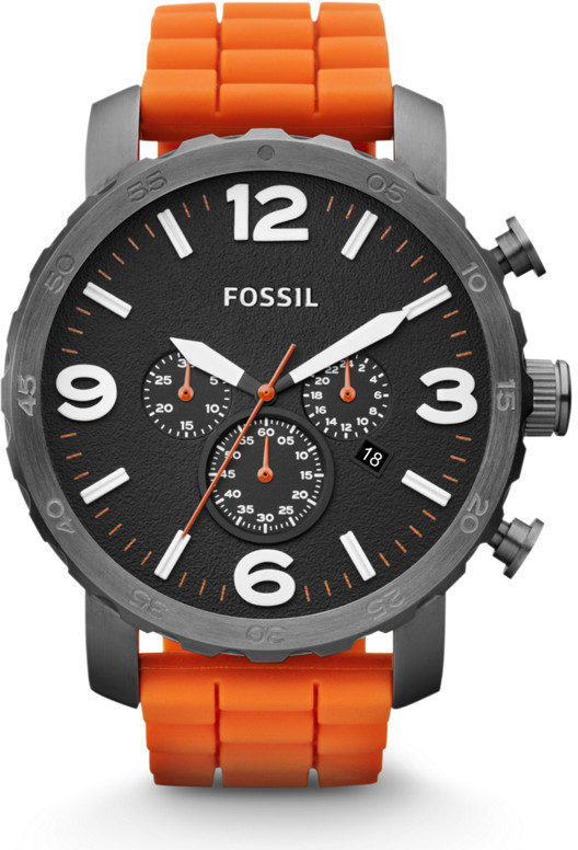 Fossil Nate Chronograph Silicone Watch – Orange