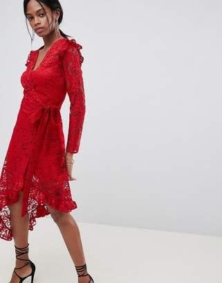 Asos DESIGN wrap lace dress with asymmetric hem