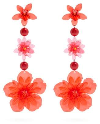 Isabel Marant Aloha Flower And Bead Embellished Earrings - Womens - Red