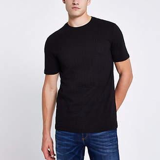 River Island Black waffle slim fit short sleeve T-shirt