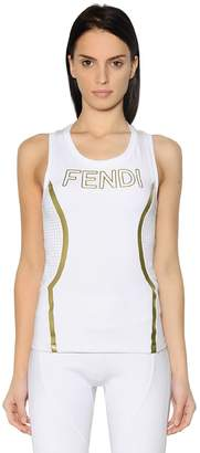 Fendi Embossed Logo Stretch Jersey Tank Top