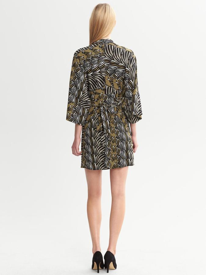 Issa Collection Olive Zebra-Printed Kimono Dress