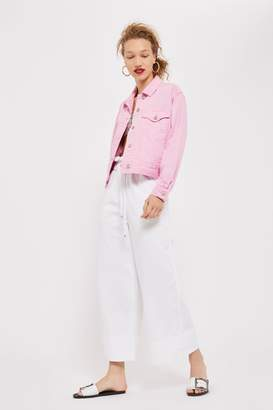 Topshop MOTO Draw Tie Cropped Wide Leg Jeans