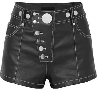 Alexander Wang Embellished Coated-denim Shorts - Black