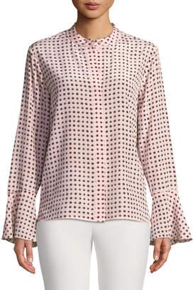 Donna Karan Polka-Dot Mandarin Collar Bell-Sleeve Shirt