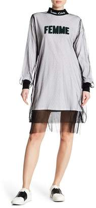 Grey Lab Mesh Mock Neck Graphic Text Layered Dress