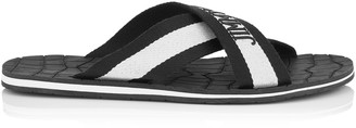 Jimmy Choo CLIVE Black and white Grosgrain Rubber Sandals