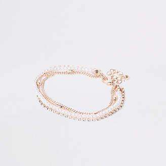 River Island Rose gold pearl and rhinestone bracelet