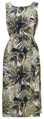 Wallis Stone Palm Print Midi Fit and Flare Dress