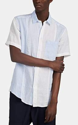 Barena Venezia Men's Colorblocked-Striped Linen Button-Front Shirt - White