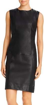 Donna Karan Seamed Leather Sheath Dress