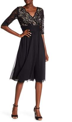 Chetta B Elbow Length Sleeve Shirred Dress