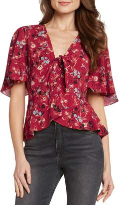Willow & Clay Tie Front Flutter Sleeve Top