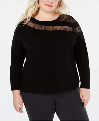 INC International Concepts I.n.c. Long-Sleeve Illusion-Lace Top