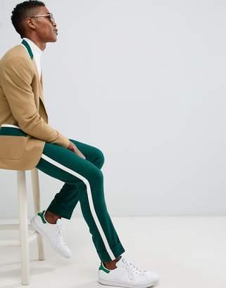Asos Design DESIGN skinny suit pants in tan and green cut and sew