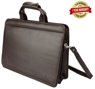 Deerlux DEERLUX Brown Leather Briefcase, Mens Messenger Business Bag for Laptop