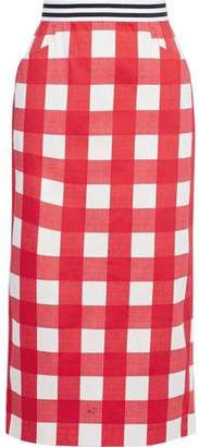 Stella Jean Grosgrain-trimmed Gingham Stretch-cotton Midi Pencil Skirt