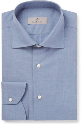 Canali Herringbone Cotton Shirt - Blue
