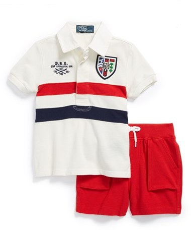 Ralph Lauren Stripe Polo & Shorts (Baby Boys)