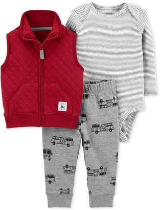 Carter's Baby Boys 3-Pc. Quilted Vest, Bodysuit & Jogger Pants Set