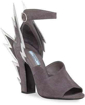 Prada Suede Lightning Bolt Ankle-Wrap Sandals