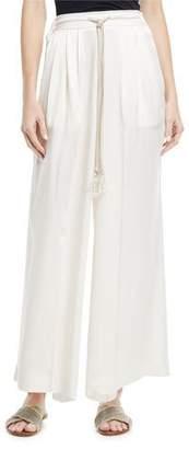 Giada Forte Wide-Leg Silk Tie-Waist Pants