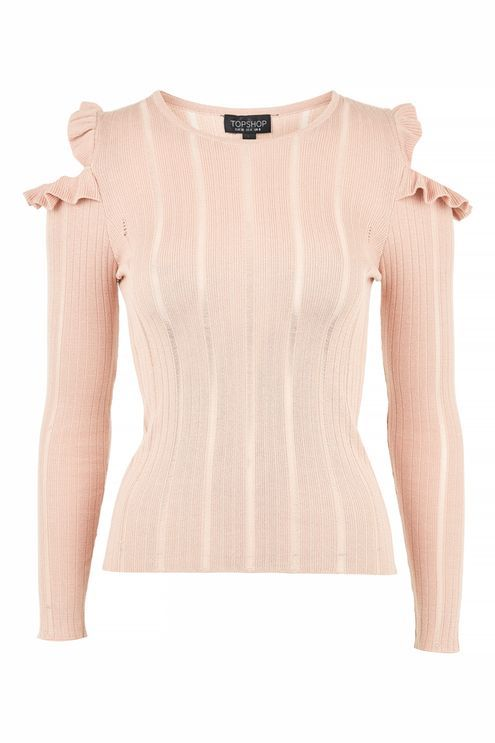 TopshopTopshop Frill cold shoulder knitted top