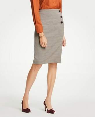 Ann Taylor Petite Plaid Side Button Pencil Skirt