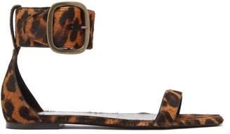 Saint Laurent Loulou Leopard Print Buckle Sandals - Womens - Leopard