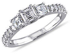 HBC CONCERTO 14K White Gold Asscher-Cut 3-Stone 1 TCW Diamond Engagement Ring