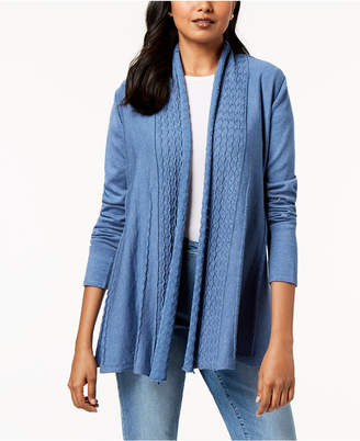 Karen Scott Shawl-Collar Pointelle Cardigan